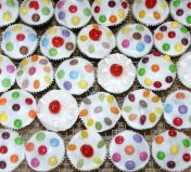 kids sponge muffins - Traditional Victoria sponge decorated with glace icing and a selection of sweeties