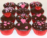 Valentine's muffins - Chocolate Fudge Cake with rich dark chocolate ganache topping