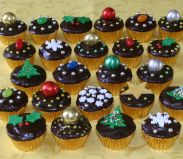 xmas mini muffins - Chocolate Fudge cake with rich dark chocolate ganache topping, and a selection of edible Christmas decorations.