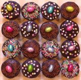 Chocolate Fudge Muffins - Chocolate fudge cake muffins with rich dark chocolate ganache topping.  Decorated for Easter.