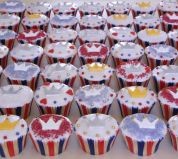 Jubilee Cakes - A traditional Victoria sponge mixture, flavoured with a hint of fresh lemon zest, decorated with white icing, hand cut crowns and sprinkles.