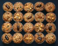 Nutty Fruit Cakes - Our popular nutty fruit cake - a glorified date and walnut cake with added hazelnuts, apricots, prunes and vine fruits, made as individual muffin sized cakes.  For Christmas, weddings or any time.