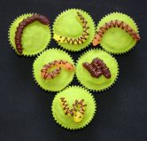 Snake Cakes - Plain sponge cake decorated with jelly snakes.
