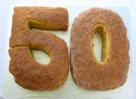 Lemon Drizzle 50 - Our legendary Lemon Drizzle Cake, here made in the shape of number 50.