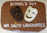 Drama Masks - Our best selling cake, which we make in all shapes and sizes.  A moist chocolate cake, this time with a melt in the mouth milk chocolate topping.
