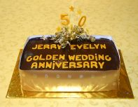 Golden Wedding - Our best selling cake, which we make in all shapes and sizes.  A moist chocolate cake with a melt in the mouth chocolate ganache topping.  A sophisticated cake, because it is not over sweet.