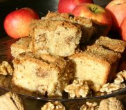 Apple and Walnut Cake - A Harvest Cake full of apples (from our own orchard when available) and walnuts, and topped with a sprinkling of crunchy demarara sugar.