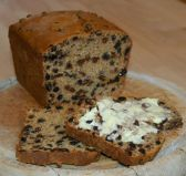 Fruit tea loaf Loaf - A classic moist loaf studded with tea-soaked vine fruits.  Fat free.  Traditionally it is spread with butter.  If you like butter, this makes it extra delicious, but the cake is so moist on its own it doesn't need it, and of course it will then no longer be fat free!