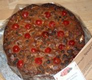 Spiced Rich Fruit Cake - A very moist fruit cake.  Packed full of dried fruit, which are soaked in sherry overnight, cherries and flaked almonds, with added ginger and alspice for a very seasonal winter flavour.