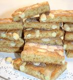 ginger & almond slices - A slightly chewey slice, crammed with preserved ginger and whole almonds