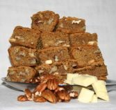 butterscotch brownies - Butterscotch or Blondie brownies with both pecan nuts and white chocolate chunks.