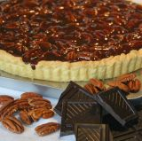 Chocolate & Pecan nut Tart - Home made rich shortcrust pastry tart with a chocolate fudge filling, crammed full of pecan nuts.  