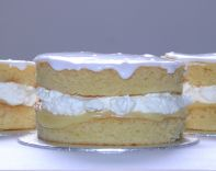 Lemon Almond Layer - A moist, light almond sponge filled with lashings of whipped cream and a tangy lemon sauce.  Can be made as individual portions, 9