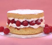 Raspberry Almond Layer - A moist, light almond sponge filled with lashings of whipped cream and fresh raspberries.  Here with raspberry preserve also and simply dusted with icing sugar.  Can be made as individual portions, 9