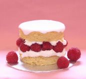 Raspberry Almond Layer - A moist, light almond sponge filled with lashings of whipped cream and fresh raspberries.  Here shown as a 3