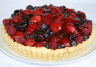 Summer Berry Tart - Home made rich shortcrust pastry tart piled up with fresh summer berries and glazed with just enough jam to sweeten it.  