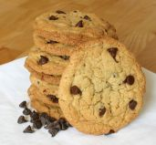 Chocolate Chip Cookies - Butter rich cookies, crunchy on the outside and chewy on the inside, filled with rolled oats and sultanas.