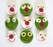 Funny Faces - Mixed muffins decorated with funny faces made from sweeties