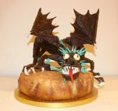 Dragon - Chocolate sculpture of a dragon on a lemon drizzle cake.