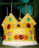 Crown Cake - Crown shaped cake, bejeweled with sweeties and silver balls.
